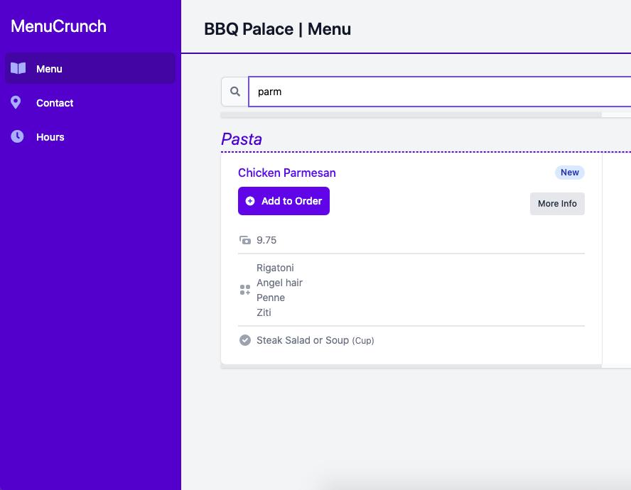 Menu Search Screenshot
