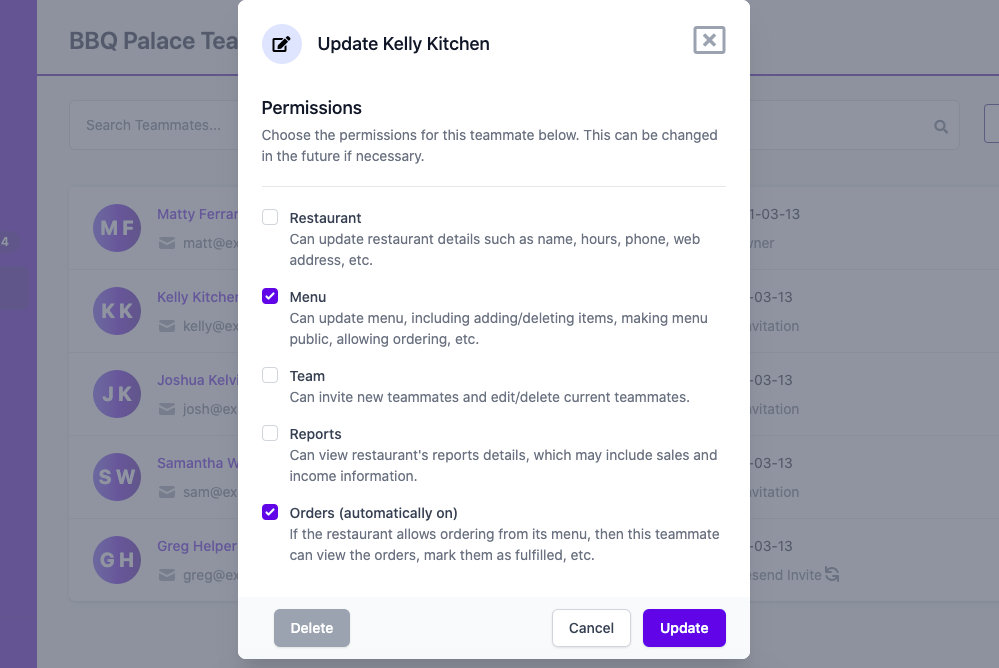 Update Permissions screenshot